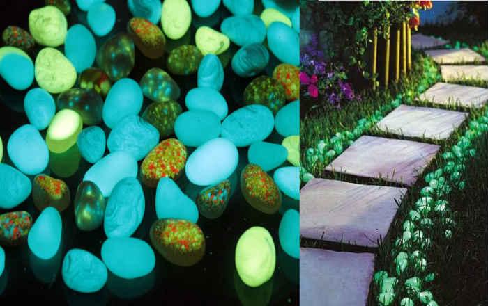 Светящиеся камни в саду